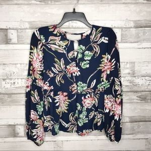 Cooper and Elle Floral Peplum Bell Sleeve Blouse
